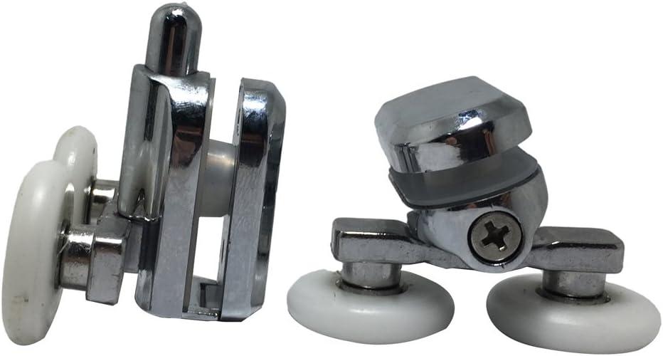 Fijaciones para mampara de ducha suave ruedas en cromo – 4 x Top & 4 x parte inferior – 25 mm: Amazon.es: Bricolaje y herramientas