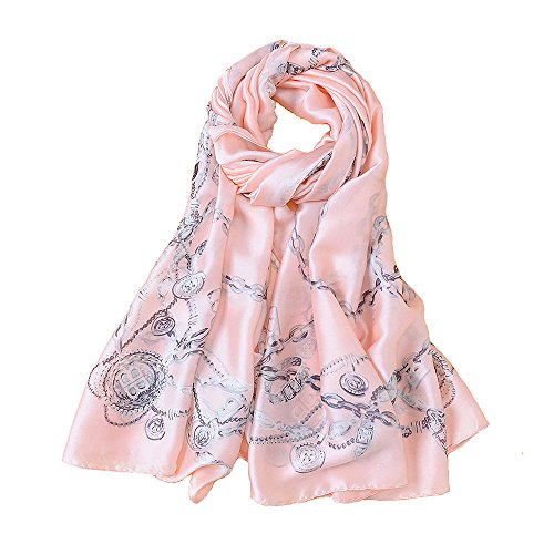 ge Silk Scarf for Hair Neck Carriage&Chain Print Shawl and Wrap Neckerchief 70x35 Inches(Pink) ()