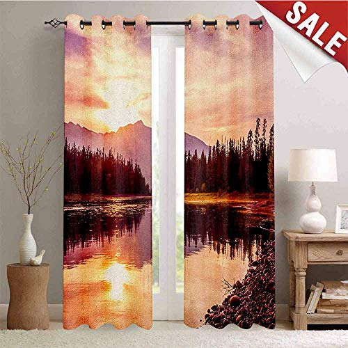 Landscape, Thermal Insulating Blackout Curtain, Grand Teton Mountain Range at Sunset Jackson Lake Calm National Park USA, Blackout Draperies for Bedroom, W72 x L84 Inch Peach Pale Yellow