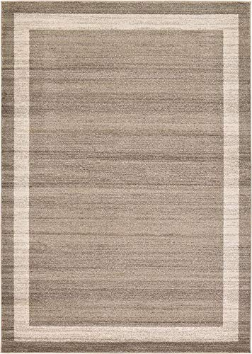 Unique Loom Del Mar Collection Contemporary Transitional Light Brown Area Rug (7' 0 x 10' 0)