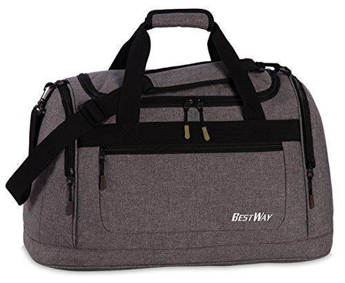 Sporttasche Schwimmtasche für Schule Sport Freizeit Tasche Badetasche Reisetasche Travel Bag Palmen grau grün Melange grau WO1Hq2M