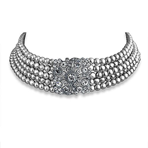 Graduated Faux Pearl Necklace (Bling Jewelry Crystal Simulated Grey Pearl Choker 13in Rhodium Plated)