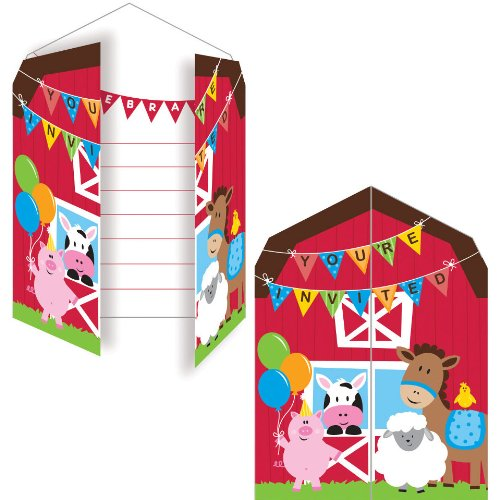 Creative Converting Farmhouse Fun Party Invitation (8 (Free Party Invitation Cards)