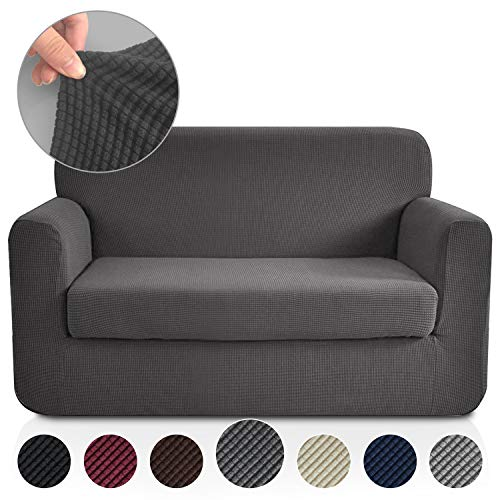 RHF 2 Separate Pieces Loveseat Cover, Slipcovers for Couches and Loveseats with Separate Cushion Cover Jacquard High Stretch Loveseat Slipcover(Loveseat: Dark - Piece Fashion 3