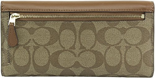 Coach Signature Checkbook Leather Wallet in Khaki - #F57319