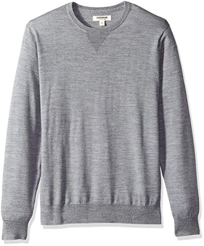 (Goodthreads Men's Merino Wool Crewneck Sweater, Heather Grey, Medium)