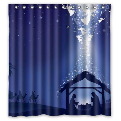Christmas Nativity Custom Waterproof Shower Curtain Bathroom Curtains Bath 66x72 Inches