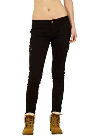 latest cute distinctive design Womens Slim Skinny Stretch Black Low Rise Hipster Cargo ...