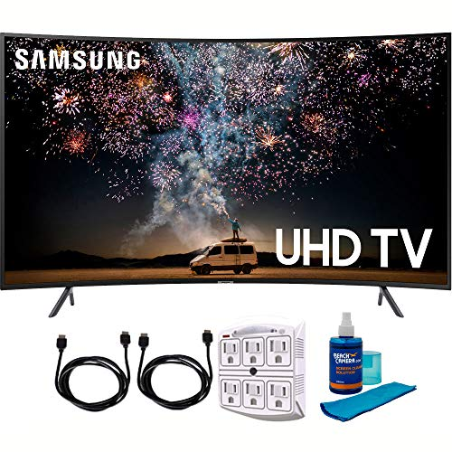 """Samsung UN55RU7300 55"""" RU7300 HDR 4K UHD Smart Curved LED TV (2019 Model) with Cleaning Power Bundle Includes Screen Cleaner + 6-Outlet Surge Adapter + 2X 6ft High Speed HDMI Cable Black"""