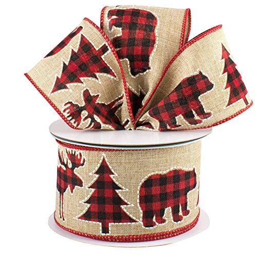 Plaid Moose Wired Christmas Ribbon - 2 1/2