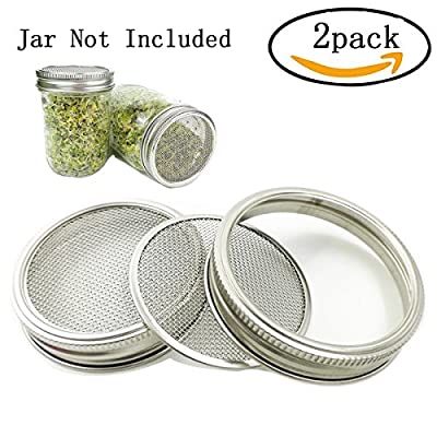 2 Pack Stainless Steel Sprouting Lids - 2 in 1 Superb Ventilation Stainless - Curved Mesh Jar Sprouting Lid Kit for Wide Mouth Mason Jars Canning Jars for Making Organic Sprout Seeds in House/Kitchen