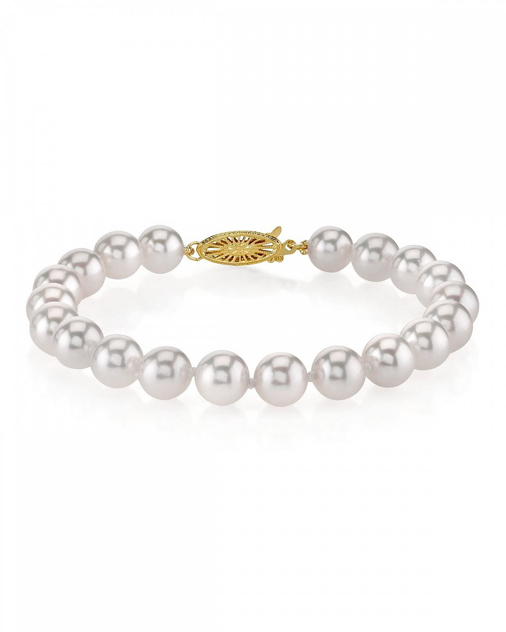 18K Gold 7.5-8.0mm Japanese Akoya Saltwater White Cultured Pearl Bracelet - AAA Quality