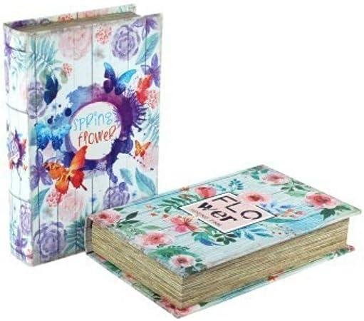 CAPRILO Set de 2 Cajas Libro Decorativas de Madera Flower. Cajas ...