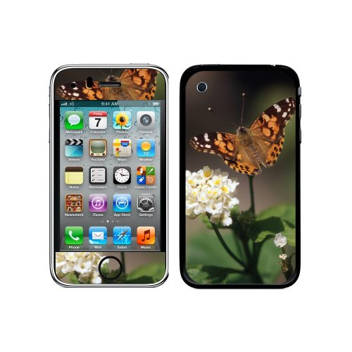 Iphone 3g 3 Gs Flower (Graphics and More Protective Skin Sticker Case for iPhone 3G 3GS - Non-Retail Packaging - Butterfly on Flower - Moth)