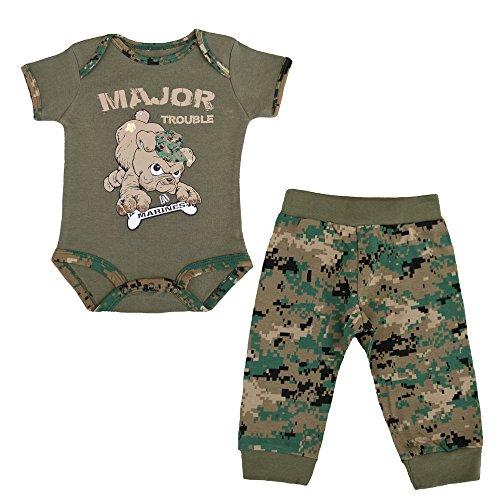 U.S.M.C. Devil Dog 2pc Baby Boys Major Trouble Bodysuit Pants Set Woodland MARPAT Camo (3-6 Months)