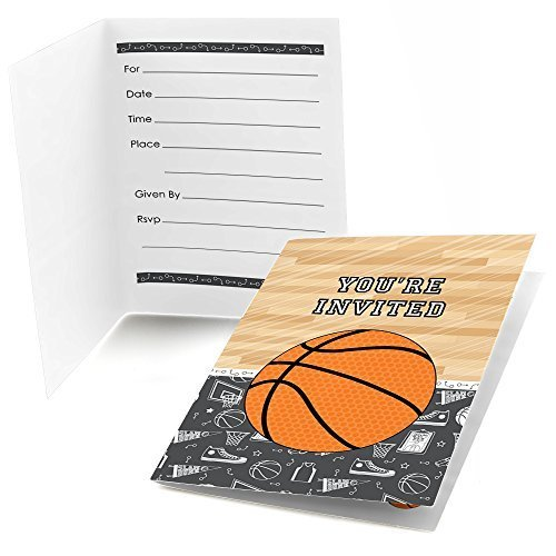 Big Dot of Happiness Nothin' But Net - Basketball - Fill in Baby Shower or Birthday Party Invitations (8 Count)