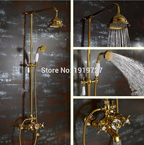 PST@ Waterfall Gold Shower System with Exposed Hot Cold Valve, Shower Head, Hand Shower, Diverter, 24