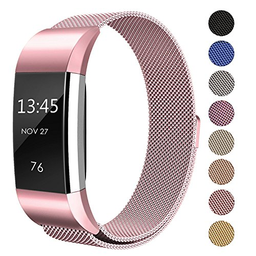 SWEES Metal Bands Compatible Fitbit Charge 2, Milanese Stainless Steel Metal Magnetic Replacement Wristband Small & Large (5.5 - 9.9) Women Men, Silver, Champagne, Rose Gold, Black, Colorful