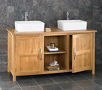 Ohio Solid Oak Two Door X Bathroom Cabinet With Two