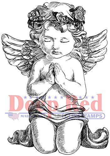 Deep Red Stamps 3X505696 Guardian Angel Cling Stamp, Approx. Size: 3