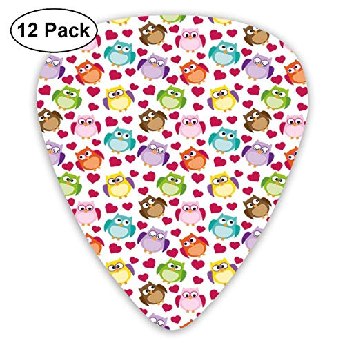 Celluloid Guitar Picks - 12 Pack,Abstract Art Colorful Designs,Cool Doodle Drawing Style Cartoon Owls With Various Facial Expressions Funny Pattern,For Bass Electric & Acoustic Guitars. -