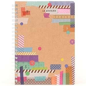 Cuaderno beis de anillas scrapbook con cinta washi de