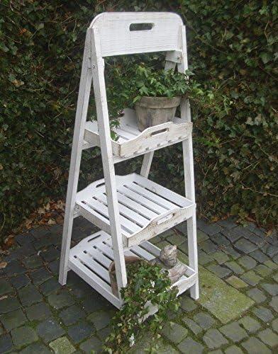 Shabby Macetero Escalera madera Estantería de escaleras Antiguo Estilo Rústico Blanco: Amazon.es: Jardín