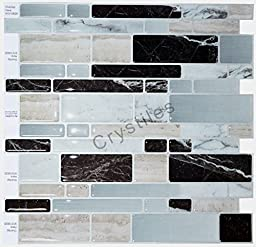 "Crystiles Peel and Stick Self-Adhesive Vinyl Wall Tiles, Multi-Color Marble Style, Item# 91010828, 10"" X 10"", Set of 6"
