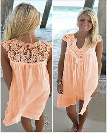 3f15f39eec77b cybermall360 US Plus Size Lady Boho Sleeveless Party Tops Women Loose  Summer Beach Lace Dress (