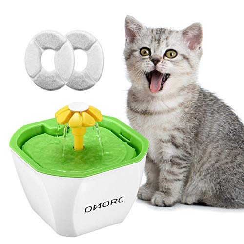 OMORC Pet Water Fountain, Smart Automatic 1.6 Liter/ 54 Ounce Cat Drinking Fountain, Dispenser Feeder for Cats and Dogs with 2 Filters, Super Quiet Pump and Water Shortage Alert, 3 Water Flow Settings