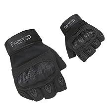 FREETOO Tactical Gloves Military Rubber Hard Knuckle Outdoor Gloves for Men Half Finger Gloves Black (M)