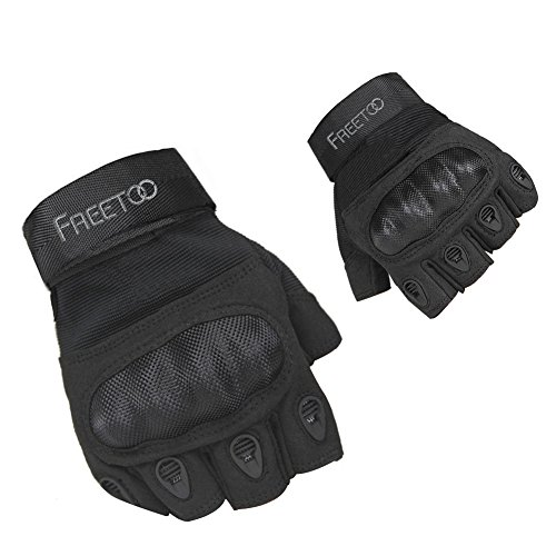 Knuckle Protection (FREETOO Tactical Gloves Military Rubber Hard Knuckle Outdoor Gloves for Men Half Finger Gloves Black (M))