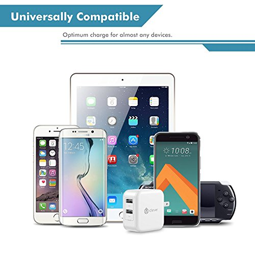 iClever USB Wall Charger BoostCube 24W Dual Port Charger with SmartID Technology and Foldable Plug for iPhone XsXS MaxXRX8 Plus87 Plus76S6 Plus iPad Pro AirMini Samsung S4S5 and More