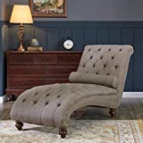 Belleze Teofila Tufted Chaise Lounge Chair Leisure Sofa Couch With Bolster Pillow Nailhead Trim and Turned Legs, Brown