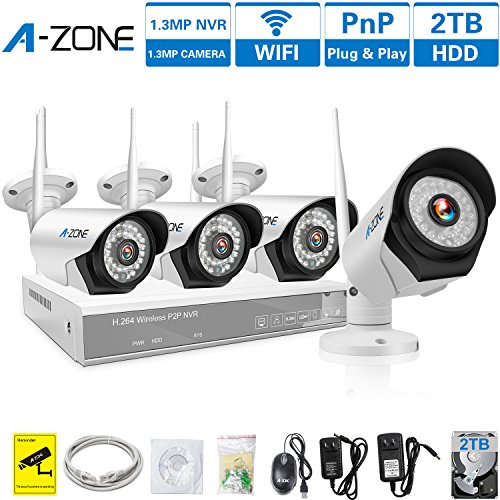 A-ZONE 4CH 960P NVR Wireless CCTV Security Camera System -Four 1280x960P 1.3-Megapixel Weatherproof Wifi IP Surveillance Camera Kit for Home, Office, 80ft IR LED Infrared Night Vision, 2TB (4 Zone System)