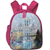 youth go pro harness - Haixia Youth Boys&Girls Backpacks with Pocket Christmas Noel Time at Amsterdam Canal with Historical Famous Buildings North Europe Design