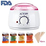 Hair Removal Wax Without Strips - ACTOPP Wax Warmer Hair Removal Electric Wax Melter with 4 Different Flavors Hard Wax Beans and 10 Wax Applicator Sticks DIY Depilatory Machine Ideal for Home Waxing Spa in Face Arm Armpits Legs Bikini