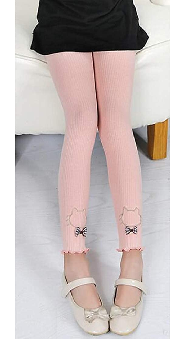 Joe Wenko Girl Kids Length Cotton Comfy Embroidery Cartoon Pants Legging