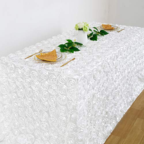 QueenDream 90 x132 Inches White 3D Floral Tablecloth Rectangular Rosette Tablecloth for Home Wedding Decor (Tablecloths Rosette)
