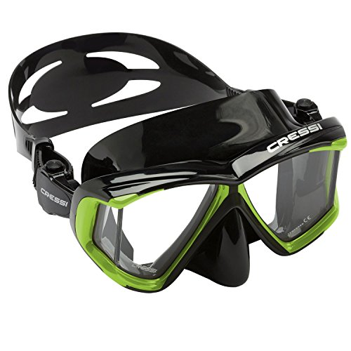 Cressi Panoramic 4 Windows Scuba Dive Mask, with side view, Lime Green / (Panorama Mask)