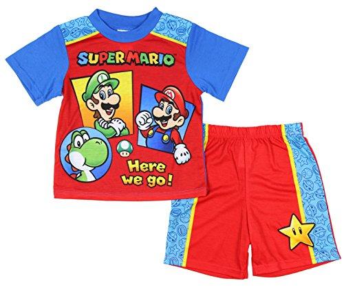Nintendo Super Mario Here We Go! Boys 2 Piece Pajama Set Luigi Yoshi (8) (Yoshi Yoshi By Pj)