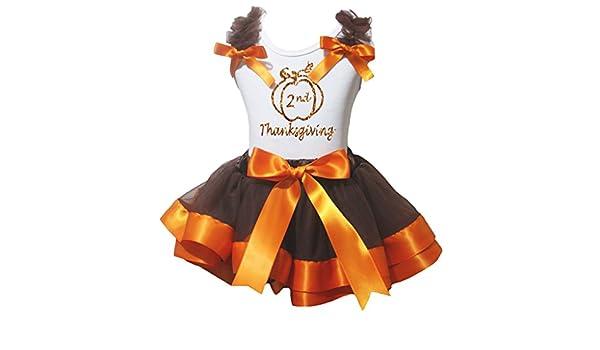 Petitebella Bling 1st Thanksgiving White Shirt Orange Brown Petal Skirt Nb-8y