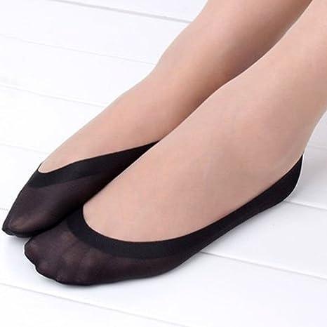 1 par de calcetines cortos invisibles, antideslizantes, para bailarinas, pinkies para mujer Negro
