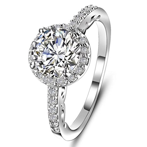 - Women's Exquisite White Gold Plated 1.5ct Clear Crystal CZ Eternity Cocktail Band Rings Tiny Cubic Zirconia Created Diamond Accented Fashion Engagement Ring Size 10