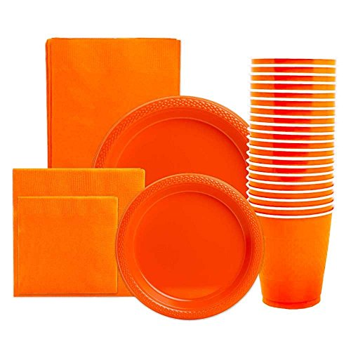 JAM Paper Party Supply Assortment Pack - Orange - Plates (2 Sizes), Napkins (2 Sizes), Cups (1 pack) & Tablecloth (1 pack) - 6/pack