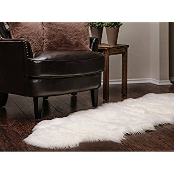 Captivating Chanasya Super Soft Faux Fur Fake Sheepskin White Sofa Couch Stool Casper  Vanity Chair Cover Rug/Solid Shaggy Area Rugs For Living Bedroom Floor    Off White ...