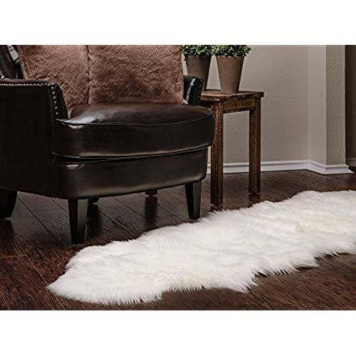 Chanasya Super Soft Faux Fur Fake Sheepskin White Sofa Couch Stool Casper  Vanity Chair Cover Rug/Solid Shaggy Area Rugs For Living Bedroom Floor    Off White ...