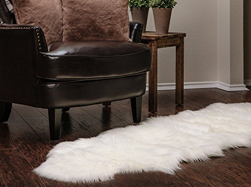 Chanasya Super Soft Faux Fur Fake Sheepskin White Sofa Couch Stool Casper Vanity Chair Cover Rug/Solid Shaggy Area Rugs For Living Bedroom Floor - Off White 2ft x - Sofa Couch White