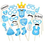 Photo Booth Props Funny DIY Kit for Baby Shower Boy Birthday Party Decorations Costume Dress-up Accessories Doubtless Bay (25Pcs blue)