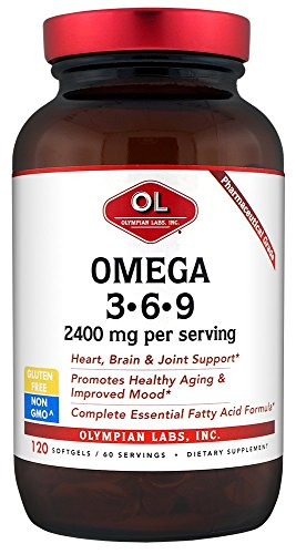 Cheap Olympian Labs Omega 3-6-9, 2400 mg per serving, 120 Softgels, Glass Bottle